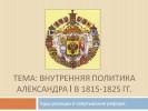 Внутренняя политика Александра I в 1815-1825 гг